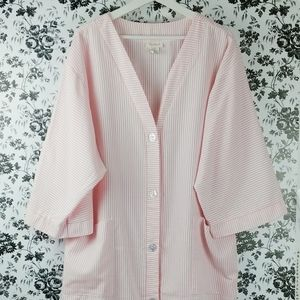 Vintage Barbizon pinstripe robe house coat XL